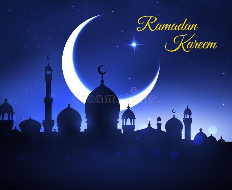 Cartolina d'auguri di Ramadan Kareem con la moschea musulmana illustrazione di stock