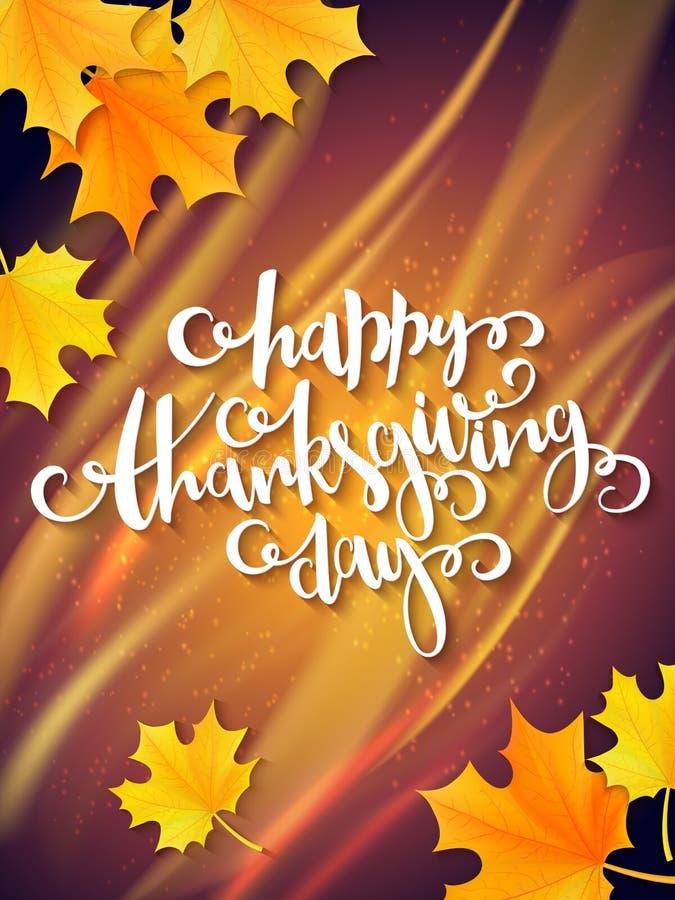 Cartolina d'auguri di ringraziamento di vettore con l'etichetta dell'iscrizione della mano - giorno felice di ringraziamento - e  royalty illustrazione gratis