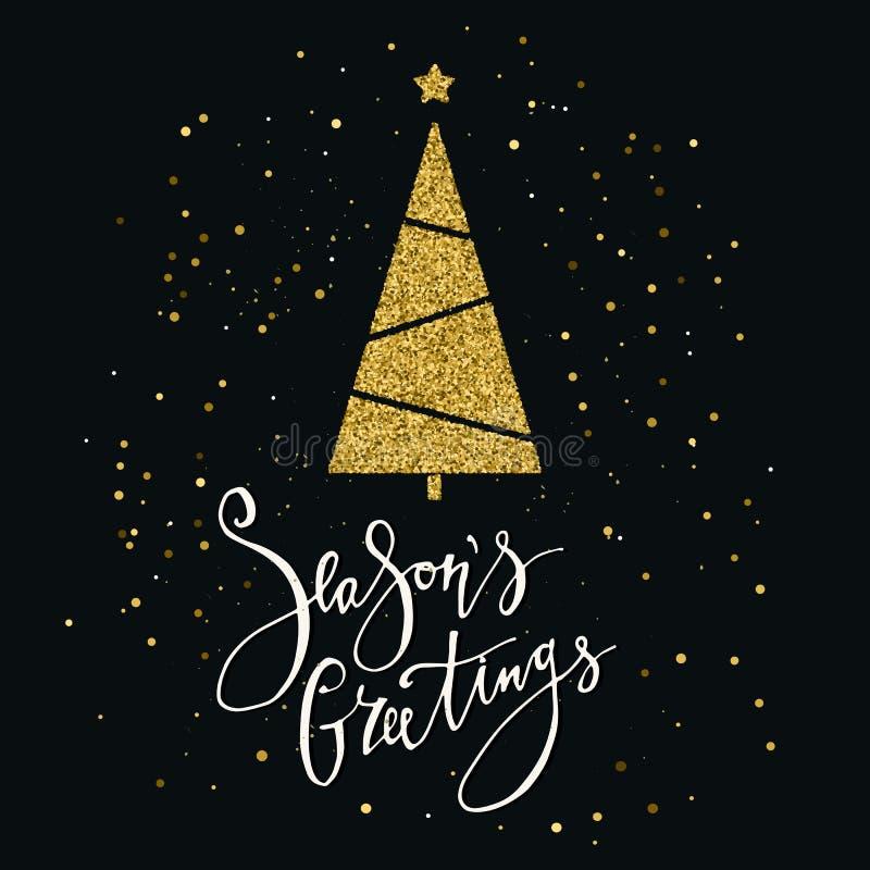 Cartolina d'auguri di stagioni con l'albero di Natale ed il fiocco di neve di scintillio dell'oro Iscrizione moderna Invito di nu illustrazione di stock