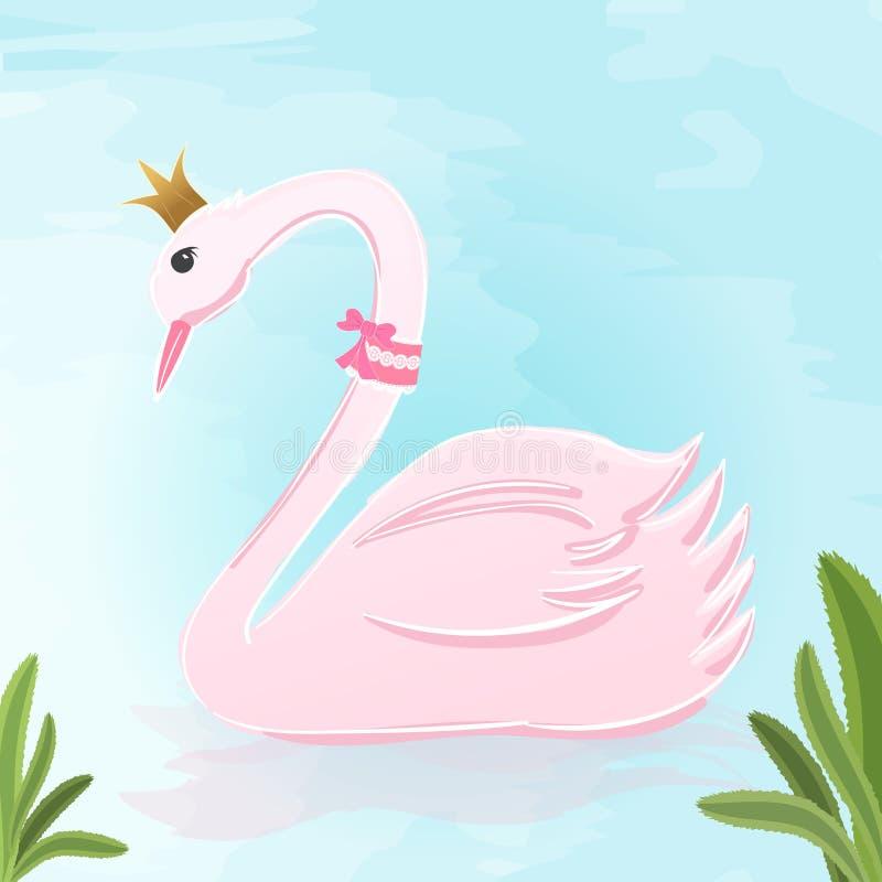 Cartolina d'auguri di stile dell'acquerello di principessa Swan illustrazione di stock