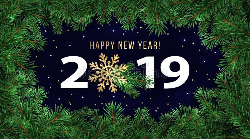 Cartolina d'auguri di vacanza invernale del buon anno 2019 o modello di progettazione dell'insegna illustrazione vettoriale