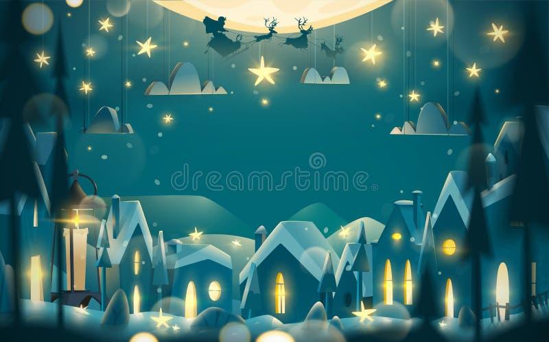 Cartolina d'auguri di vacanze invernali nello stile del fumetto illustrazione vettoriale