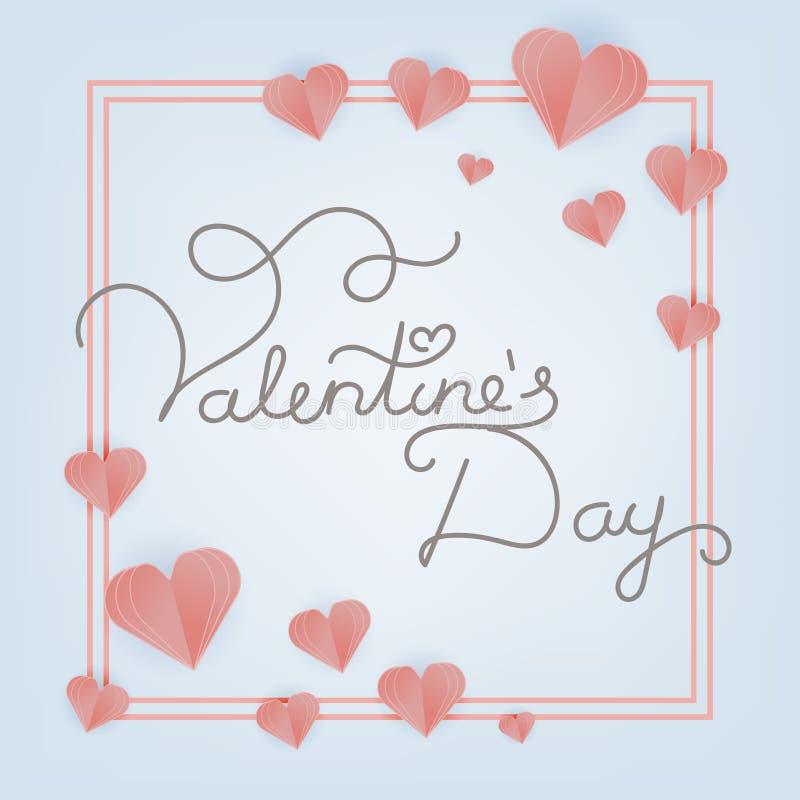 Cartolina d'auguri di Valentine Day con i cuori tagliati di carta Vettore illustrazione vettoriale