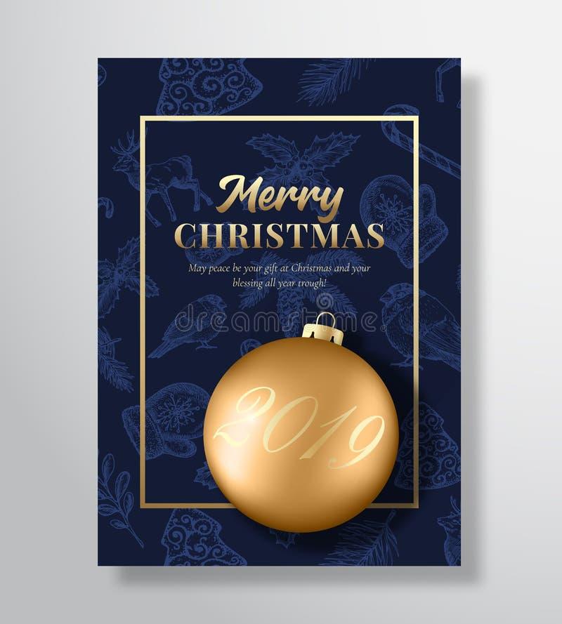 Cartolina d'auguri di vettore di Buon Natale, manifesto o fondo astratto di festa Colori di classe dell'oro e del blu, scintillio illustrazione di stock