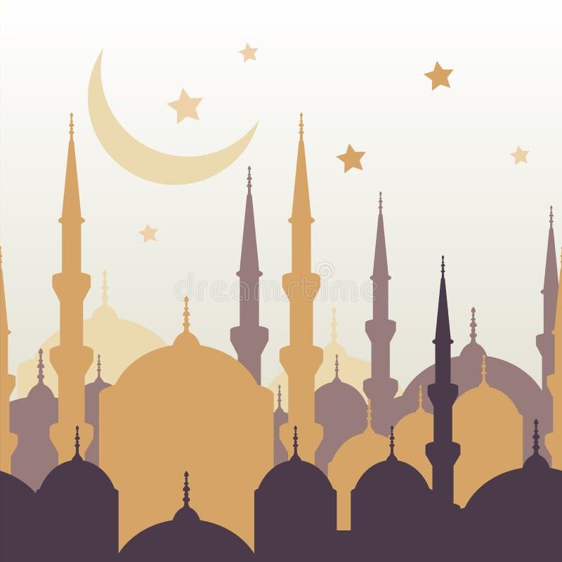 Cartolina d'auguri di vettore del Ramadan con la siluetta della moschea dorata, m. illustrazione di stock