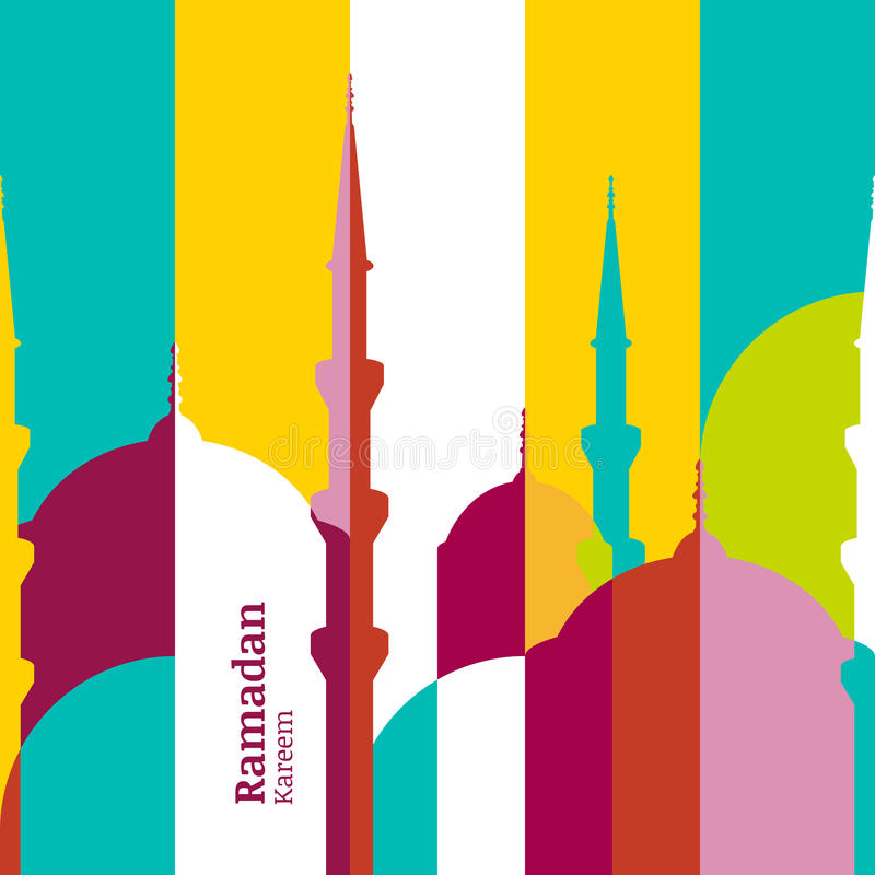 Cartolina d'auguri di vettore del Ramadan con la siluetta della moschea Vettore m. illustrazione vettoriale