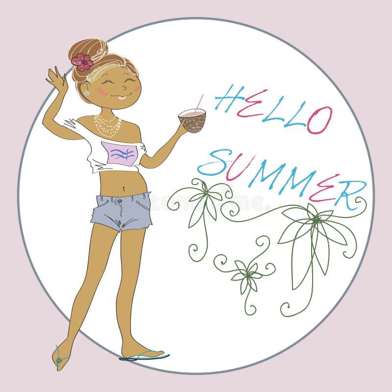 Cartolina d'auguri di vettore di estate con la ragazza sveglia illustrazione vettoriale