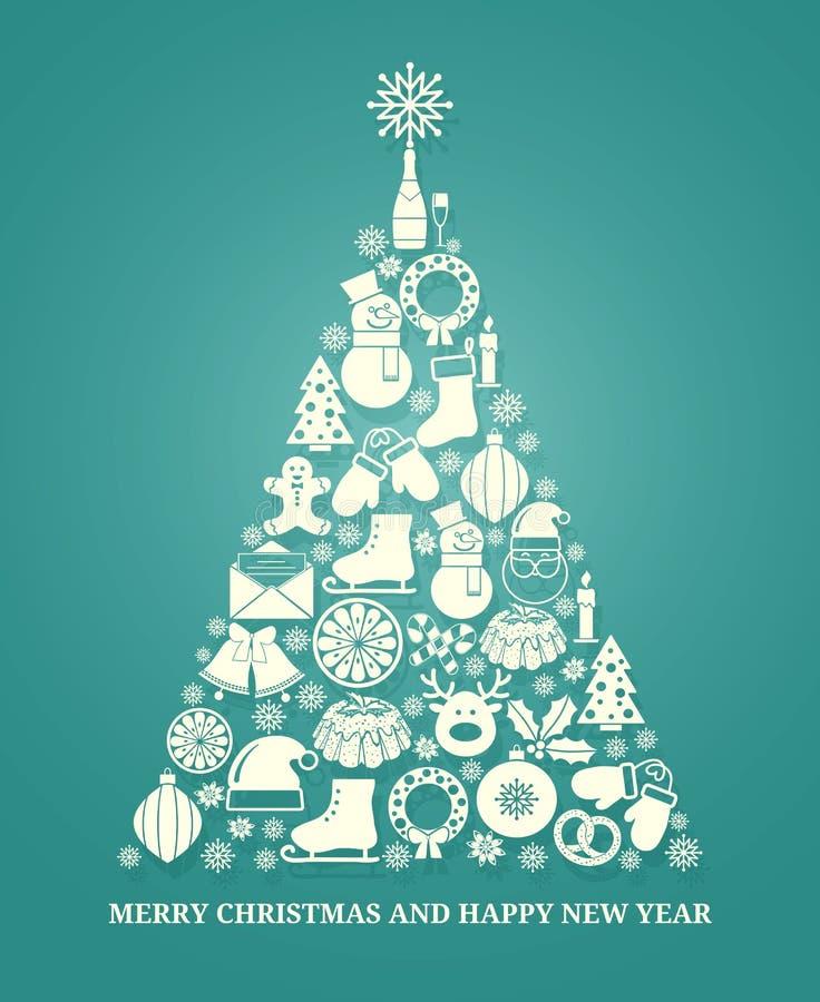 Cartolina d'auguri di vettore di Natale con un albero illustrazione vettoriale