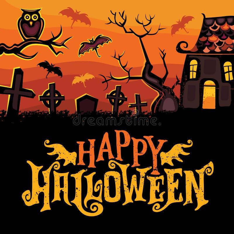 Cartolina d'auguri di vettore di Halloween illustrazione di stock
