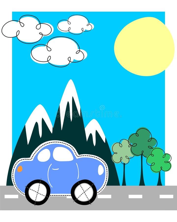 Cartolina d'auguri di viaggio dell'automobile illustrazione vettoriale