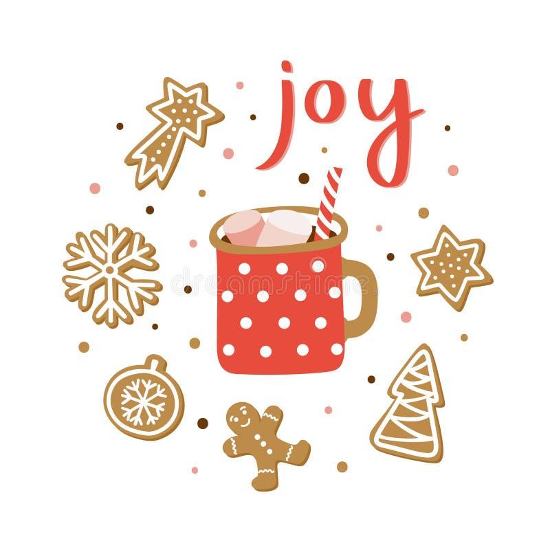 Cartolina d'auguri disegnata a mano di stagione di Natale Manifesto sveglio con gioia dell'iscrizione royalty illustrazione gratis