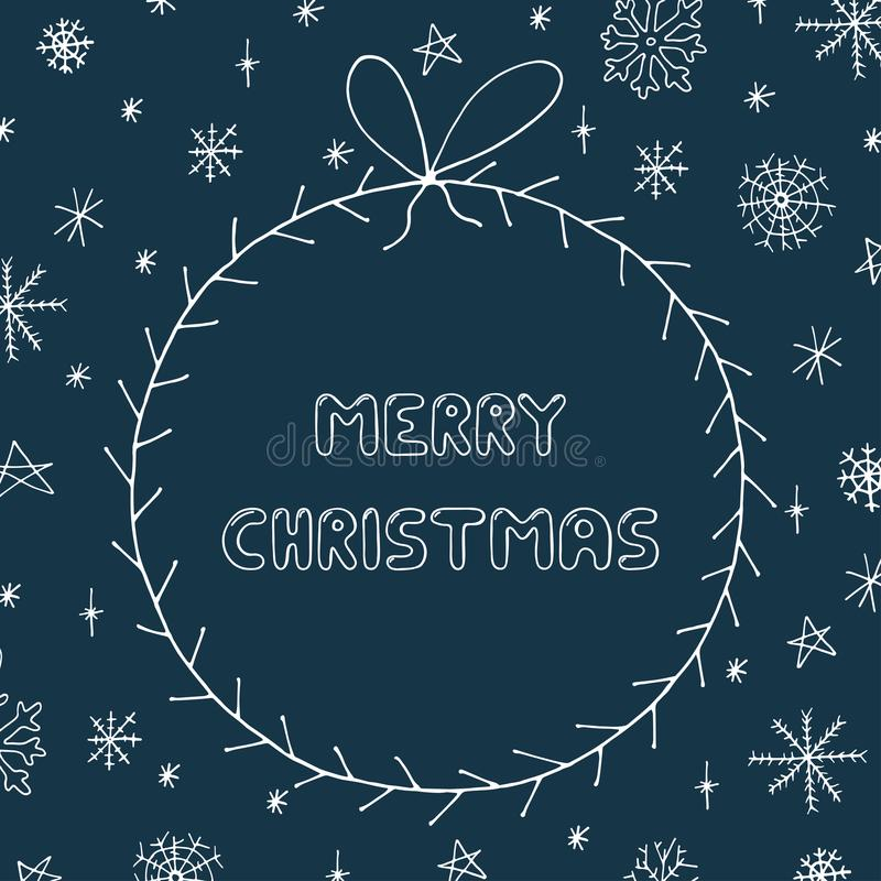 Cartolina d'auguri disegnata a mano nello stile di scarabocchio Il Natale incornicia sul fondo dei fiocchi di neve di festa illustrazione vettoriale
