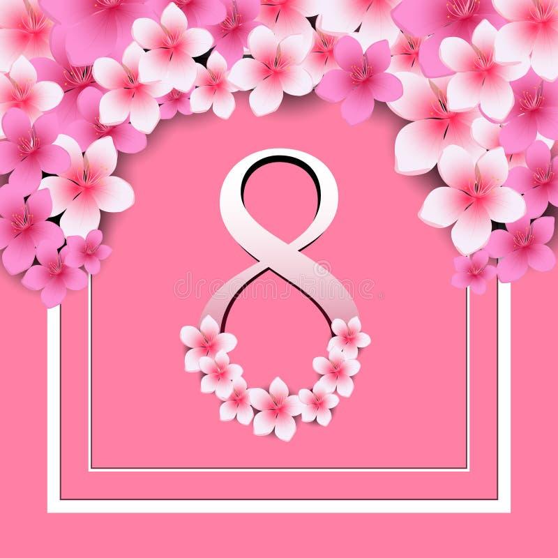 Cartolina d'auguri, donne e testo felici di giorno del ` s delle donne 8 marzo illustrazione vettoriale