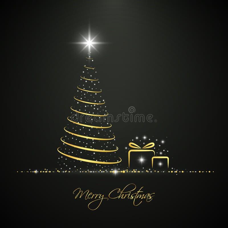 Cartolina d'auguri dorata astratta dell'albero di Natale illustrazione di stock