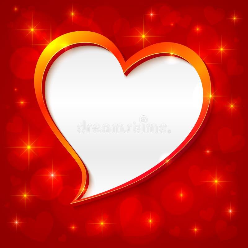 Cartolina d'auguri dorata dei biglietti di S. Valentino del blocco per grafici di vettore royalty illustrazione gratis