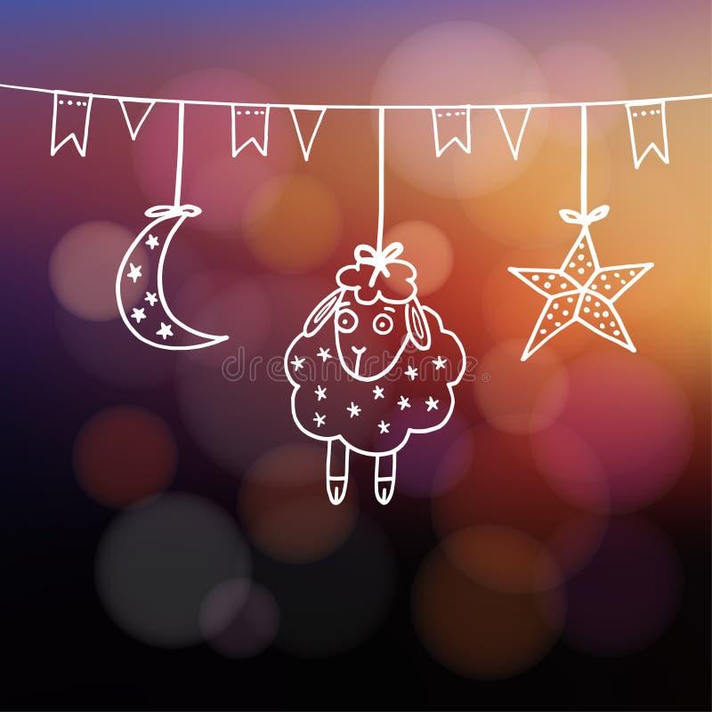 cartolina d'auguri Eid-UL-adha con le pecore, la luna, la stella e le bandiere illustrazione di stock