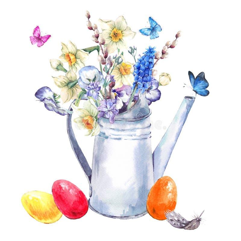 Cartolina d'auguri felice d'annata di Pasqua con il mazzo della molla illustrazione vettoriale