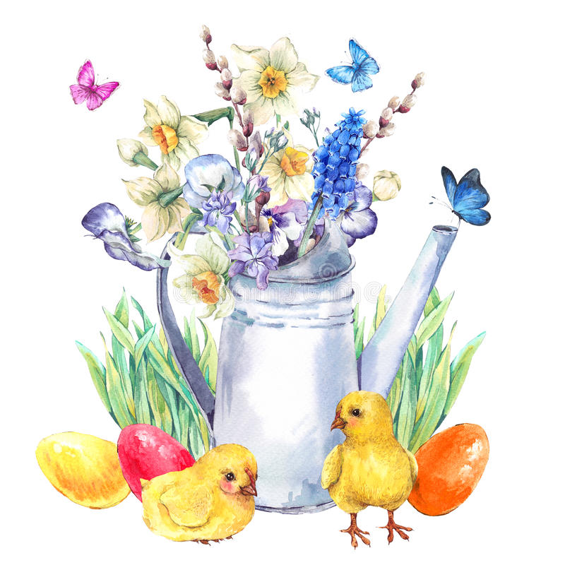 Cartolina d'auguri felice d'annata di Pasqua con il mazzo della molla royalty illustrazione gratis