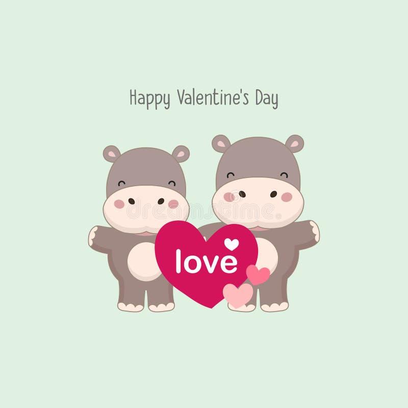 Cartolina d'auguri felice del biglietto di S. Valentino Coppia l'ippopotamo con grande cuore rosa illustrazione vettoriale