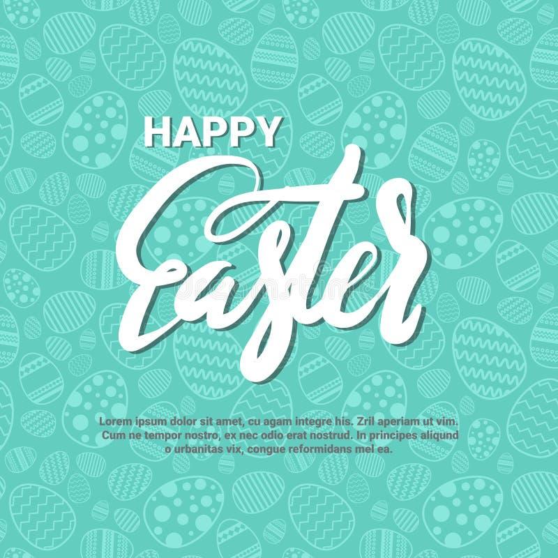 Cartolina d'auguri felice del modello del fondo di Pasqua con iscrizione creativa disegnata a mano illustrazione di stock