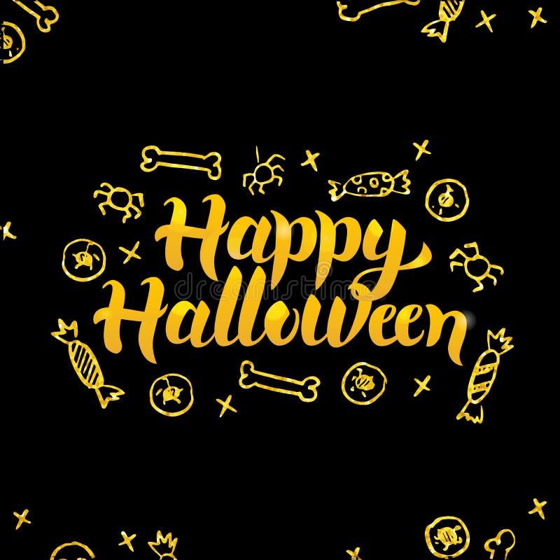 Cartolina d'auguri felice del nero dell'oro di Halloween royalty illustrazione gratis