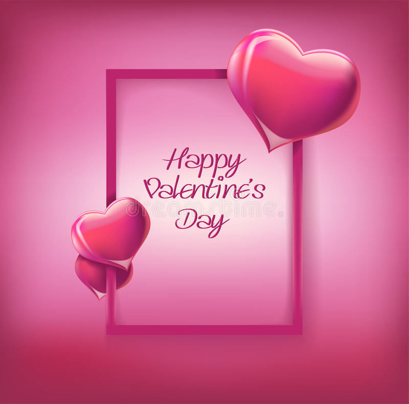 Cartolina d'auguri felice dell'iscrizione di San Valentino su fondo rosa royalty illustrazione gratis