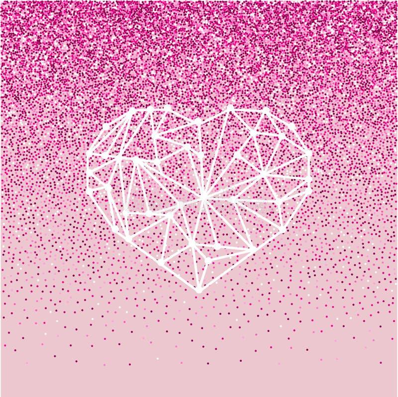 Cartolina d'auguri felice di amore di giorno di biglietti di S. Valentino con cuore geomtric su fondo rosa con effetto di scintil fotografia stock libera da diritti