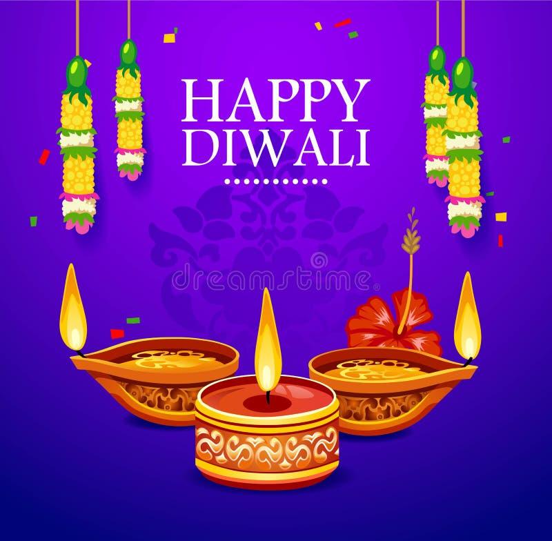 Cartolina d'auguri felice di Diwali con gli elementi della decorazione Illu di vettore illustrazione di stock