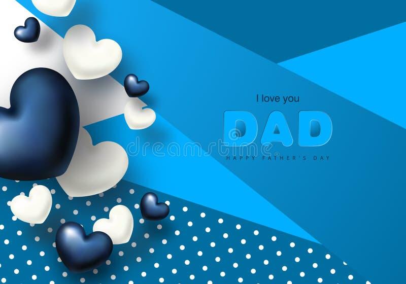 Cartolina d'auguri felice di giorno del padre s con i cuori Illustrazione di vettore illustrazione vettoriale