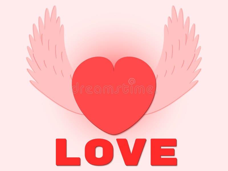 Cartolina d'auguri felice di giorno del `s del biglietto di S 3d ha traversato il modello volando del cuore con amore del testo S royalty illustrazione gratis