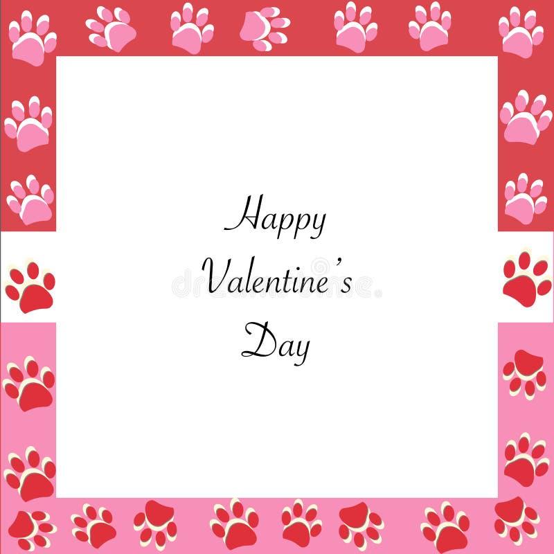 Cartolina d'auguri felice di giorno del ` s del biglietto di S. Valentino con le stampe rosa e rosse della zampa La zampa stampa  illustrazione di stock