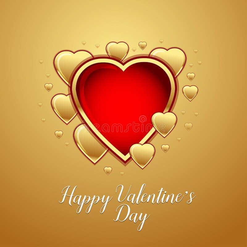 Cartolina d'auguri felice di giorno del ` s del biglietto di S. Valentino sul fondo dell'oro, illustrazione di vettore royalty illustrazione gratis