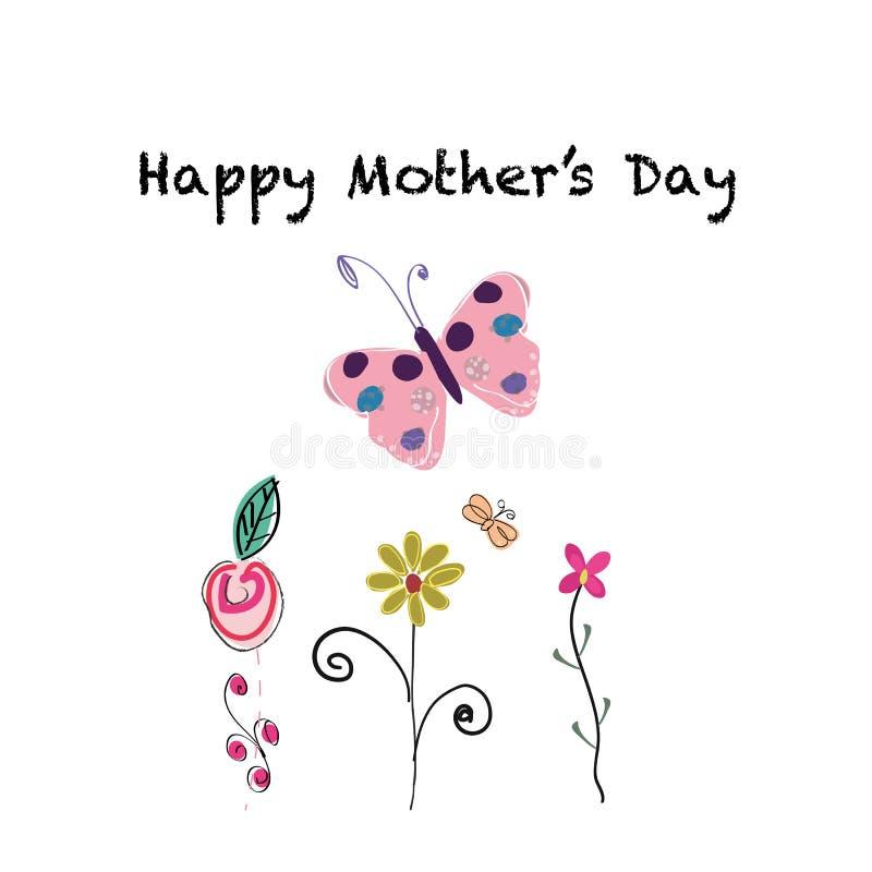 Cartolina d'auguri felice di giorno del ` s della madre Fiori e farfalla disegnati a mano svegli royalty illustrazione gratis