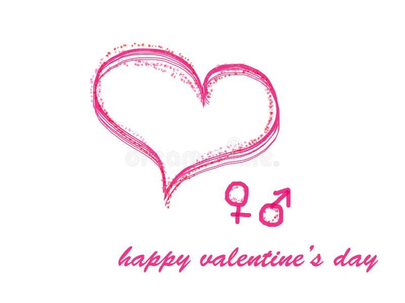 Cartolina d'auguri FELICE di giorno di biglietti di S. Valentino con cuore rosa royalty illustrazione gratis
