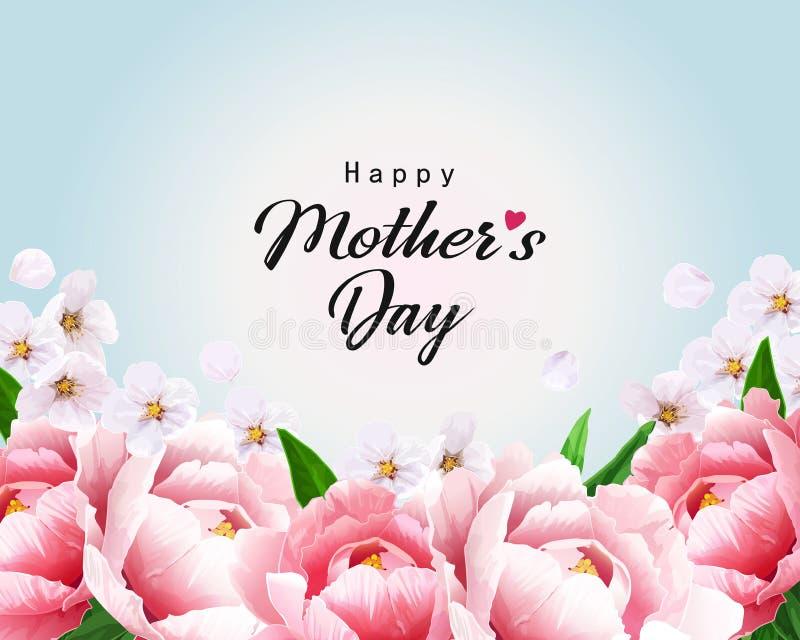 Cartolina d'auguri felice di giorno di madri con le peonie ed i fiori di ciliegia illustrazione di stock