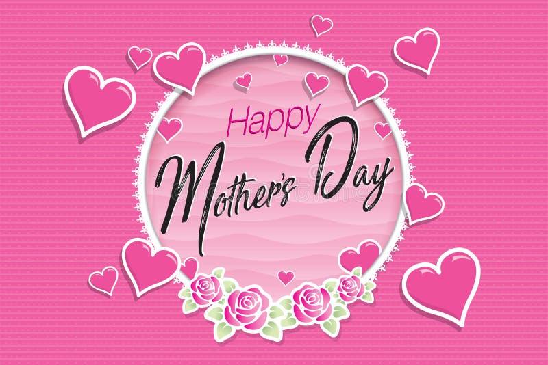 Cartolina d'auguri felice di giorno di madri Messaggio dentro una struttura circolare bianca ornata con le rose in cui i cuori ma illustrazione di stock