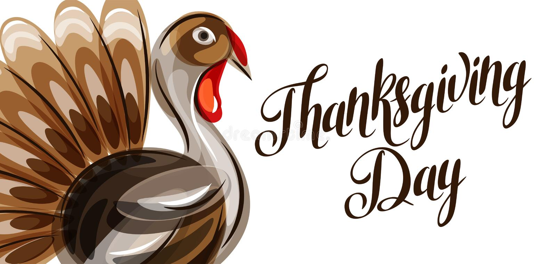 Cartolina d'auguri felice di giorno di ringraziamento con il tacchino astratto illustrazione di stock