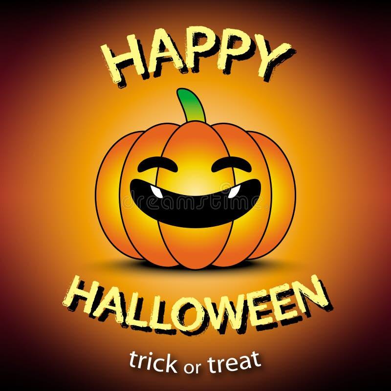 Cartolina d'auguri felice di Halloween con il fondo dell'arancia della zucca illustrazione di stock
