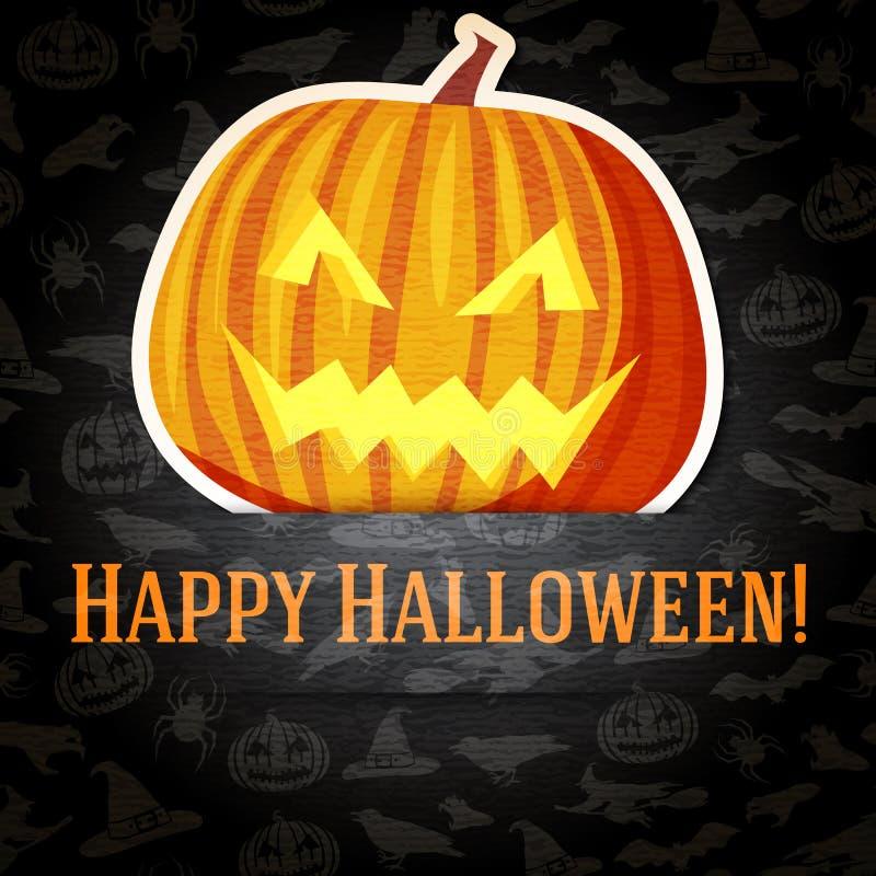 Cartolina d'auguri felice di Halloween con la presa-o luminosa illustrazione di stock