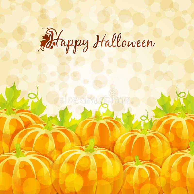 Cartolina d'auguri felice di Halloween con le zucche illustrazione vettoriale