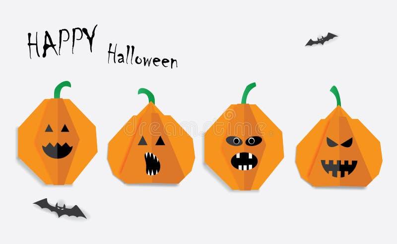 Cartolina d'auguri felice di Halloween con le zucche, i pipistrelli e l'iscrizione illustrazione di stock
