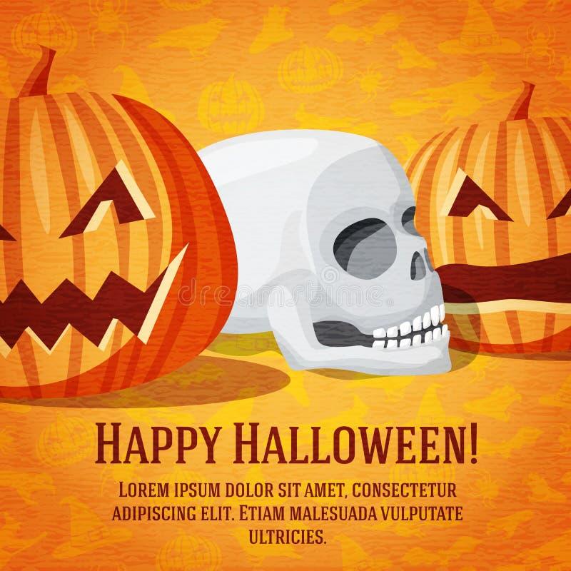 Download Cartolina D'auguri Felice Di Halloween Con Le Zucche Scolpite Illustrazione Vettoriale - Illustrazione di elemento, blocco: 56885472