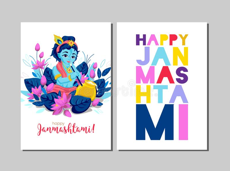 Cartolina d'auguri felice di Krishna Janmashtami Celebrazione di Janmashtami illustrazione di stock