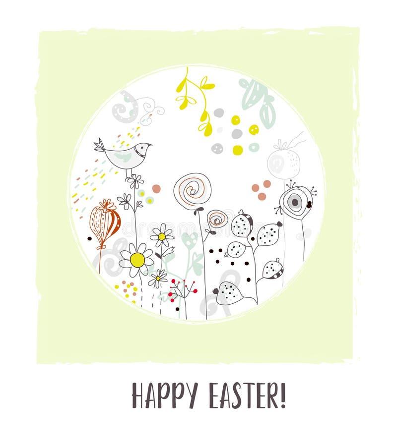 Cartolina d'auguri felice di Pasqua con i fiori e l'uccello, progettazione d'annata Illustrazione di vettore illustrazione di stock