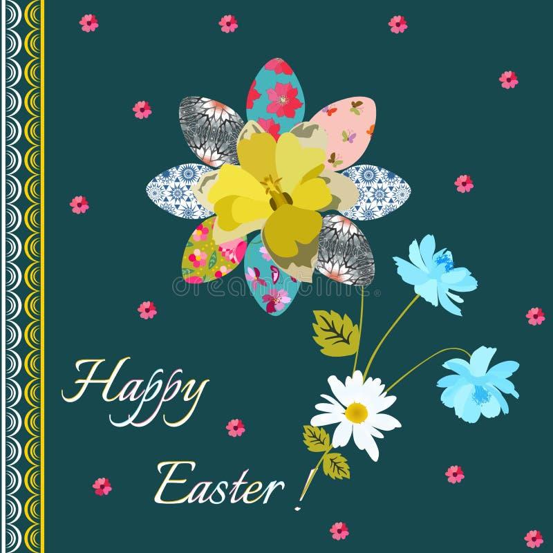 Cartolina d'auguri felice di Pasqua con le uova nella forma di fiore ed in mazzo della margherita, del narciso e dei fiori blu de illustrazione vettoriale