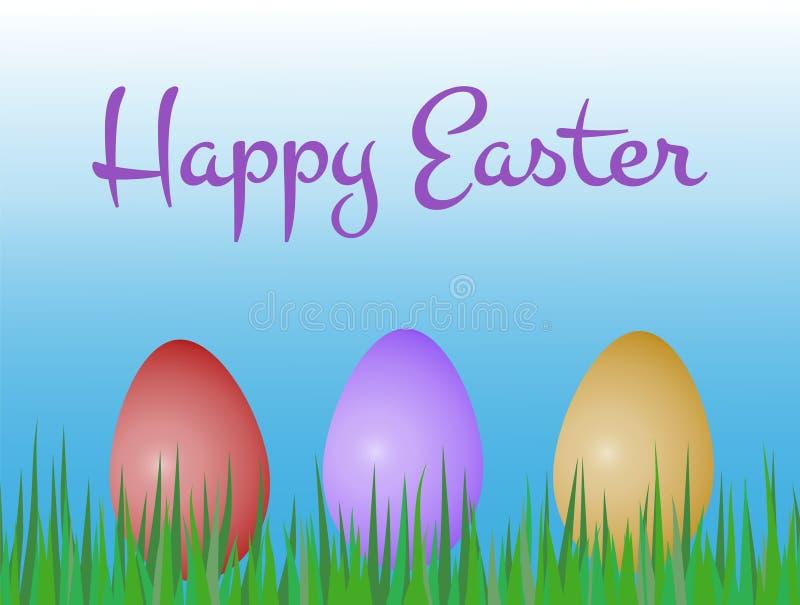 Cartolina d'auguri felice di pasqua con tre uova dipinte colorate sul gr illustrazione vettoriale