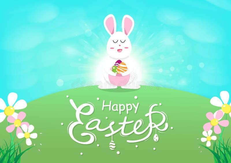 Cartolina d'auguri felice di Pasqua, coniglio sveglio con l'uovo, concetto rinato con sole, calligrafia di stagione primaverile,  illustrazione vettoriale