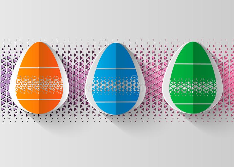Cartolina d'auguri felice di Pasqua la carta 3d ha tagliato il fondo di progettazione di massima dell'uovo di Pasqua Illustrazion illustrazione vettoriale