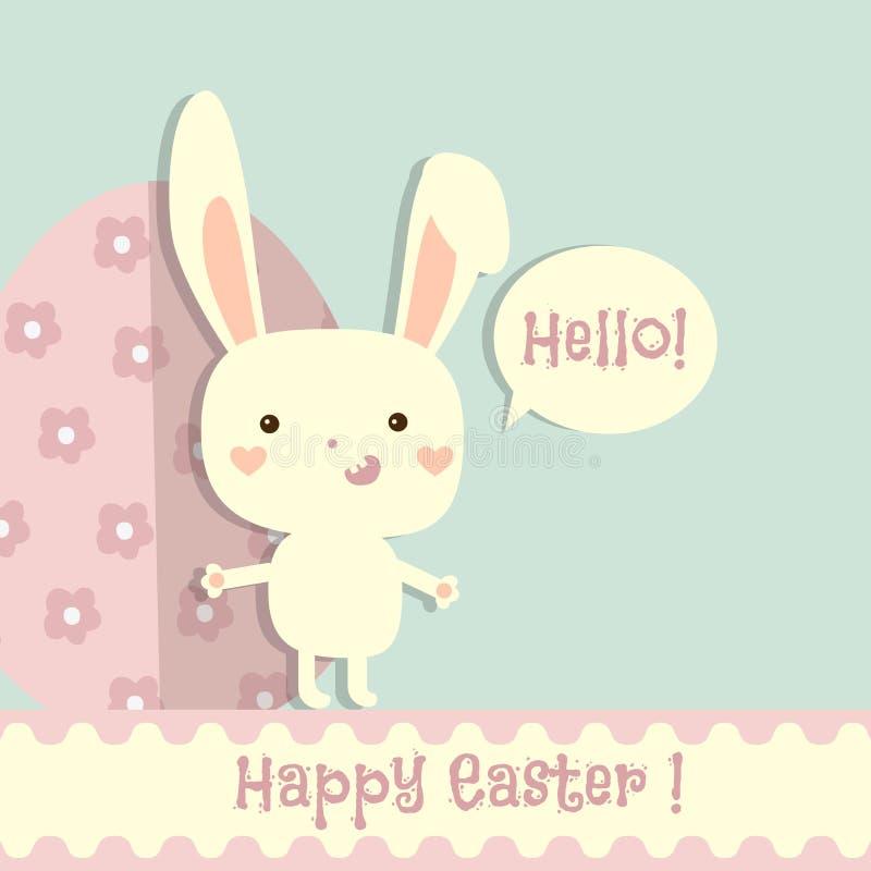 Cartolina d'auguri felice di Pasqua Modello di progettazione con coniglio divertente illustrazione vettoriale