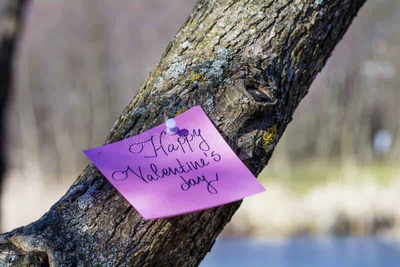 Cartolina d'auguri FELICE di rosa di giorno di biglietti di S. Valentino che appende su un albero immagine stock libera da diritti